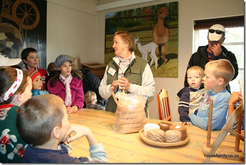 Alison explains to the kids about to raw fibre to final product process - we learnt about carding (another familiar term from a recent Living Book we&#39;ve read), skeins and more...